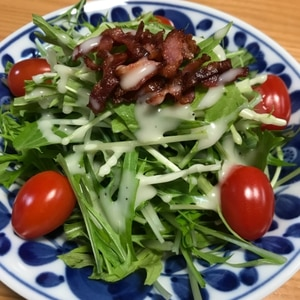きゅうりと水菜のカリカリベーコンサラダ