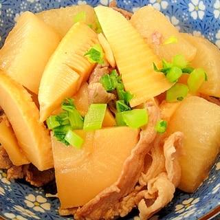 大根とたけのこ豚肉の煮物