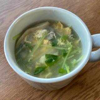 あったまる♪豆苗ときのこのほわほわ卵スープ