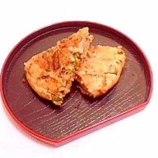 卵1/2個♪ライス入りピーマンと玉葱のおやき