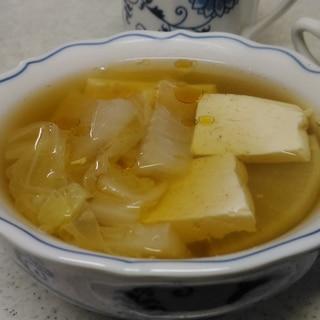 豆腐と白菜、大根の和風スープ