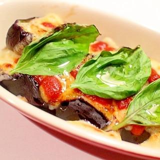 【超簡単もう一品】マルゲリータ風秋茄子のチーズ焼き