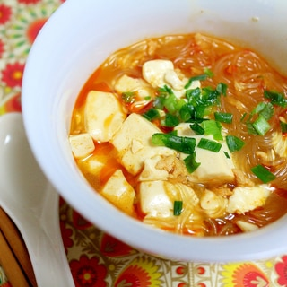 リメイク!麻婆豆腐春雨スープ