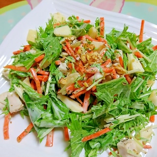 林檎と水菜と胡桃のサラダ