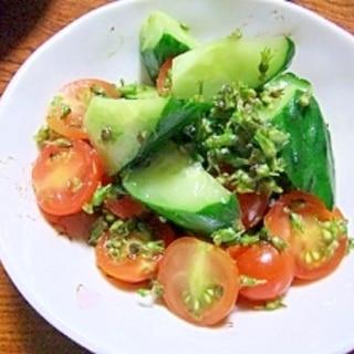 シソの実で作る♪プチプチ野菜サラダ