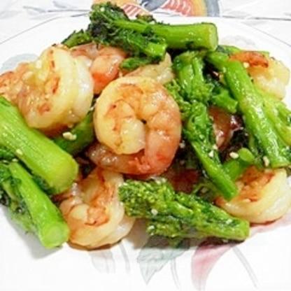 菜の花と海老の炒め物