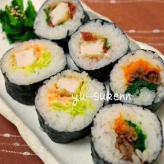 子供も大好き☆簡単巻き寿司 カツ&焼き肉