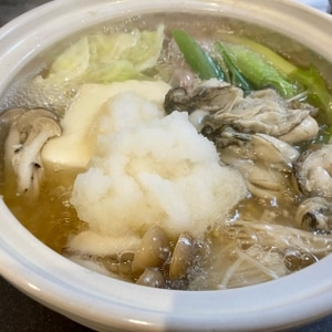 牡蠣とベーコンのみぞれ鍋