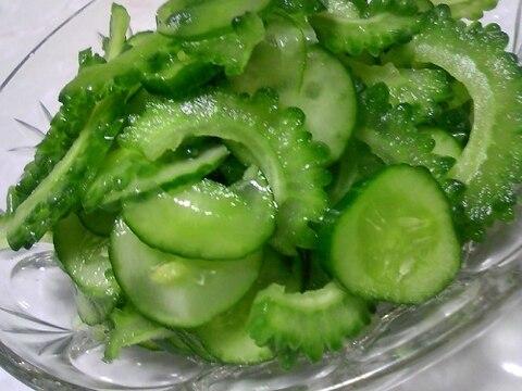 シャキシャキ♡きゅうりとゴーヤのグリーンサラダ♡