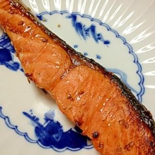 生さけの麺つゆ+ゴマ焼き☆