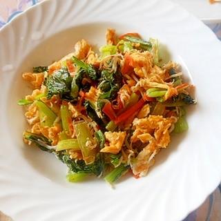小松菜としらす&卵炒め