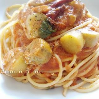 1,2,3♪白ナスのトマトソーススパゲティ