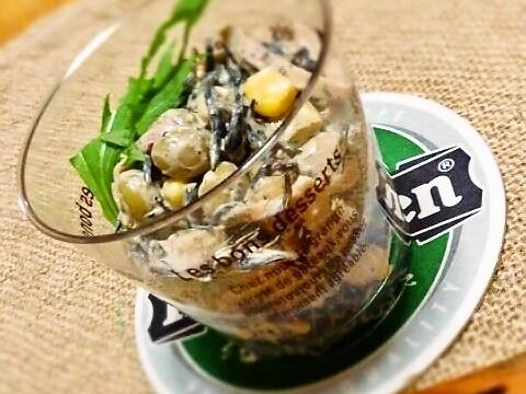 芽ひじきとミックスビーンズのカフェ風サラダ