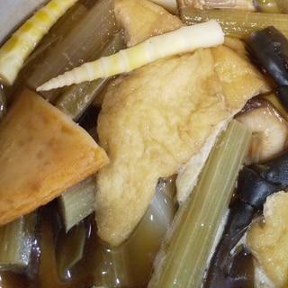 山菜の煮物(フキ、姫タケノコ、シイタケなど)