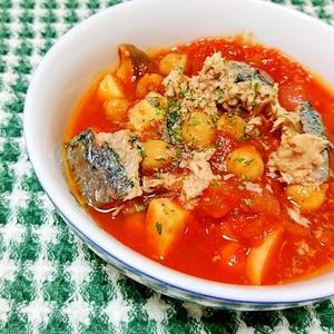 缶詰で簡単!鯖とひよこ豆のトマト煮