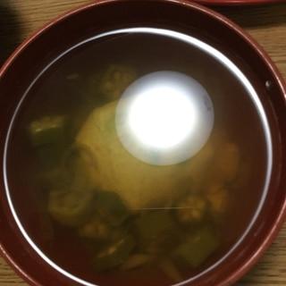 手作り卵豆腐入りオクラとみょうがのお吸い物
