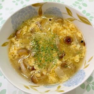 キャベツとしめじの卵スープ