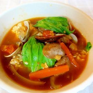 チンゲン菜のチゲ風トマトスープ