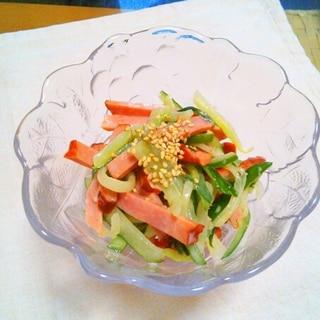 簡単切って和えるだけ!胡瓜と焼豚のゴマドレ和え♡