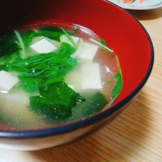 豆腐と水菜とわかめのスープ