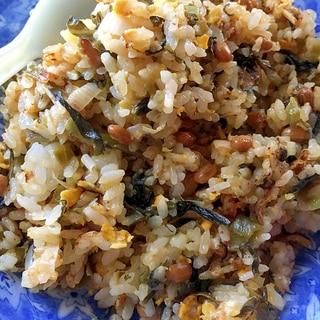 納豆と高菜漬けの炒飯