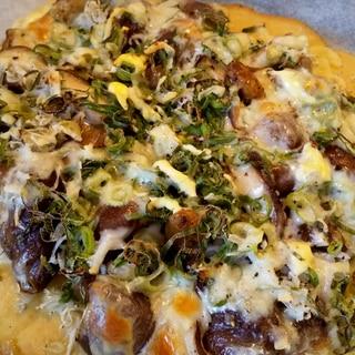 【低糖質】旬のきのこたっぷりおからパウダーピザ!