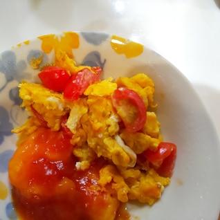 付け合わせ☆ミニトマトと卵の中華炒め