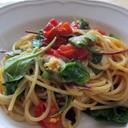 プチトマト&ルッコラとモッツァレラチーズのパスタ