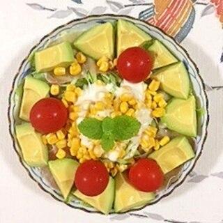 生ハム、スイートコーン、アボガドのサラダ
