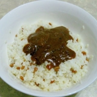 納豆混ぜご飯+カレー
