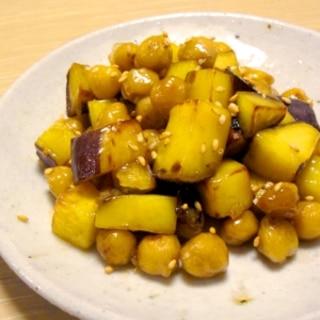やさしい味♪ひよこ豆とさつまいものコロコロ大学いも