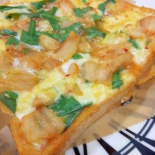 簡単!ニラと白菜キムチのチーズオープンサンド♪