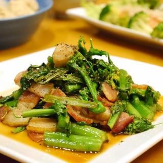 5分で完成★アスパラ菜とベーコンの炒め煮