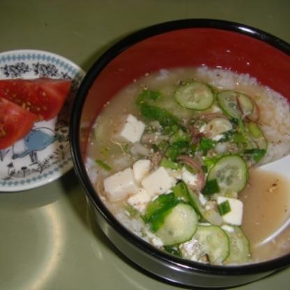 ご飯を洗ったのでさらさら食べられて、夏の朝にぴったりでした!以前作った干物をつかったものよりさっぱりしていて夏向きですね。ごちそうさまです♡