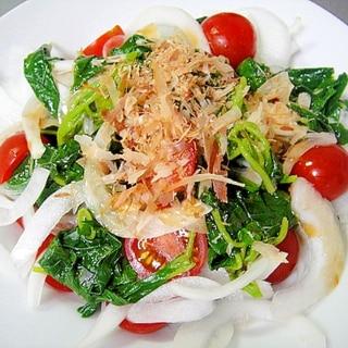 モロヘイヤと玉ねぎトマトの和風サラダ