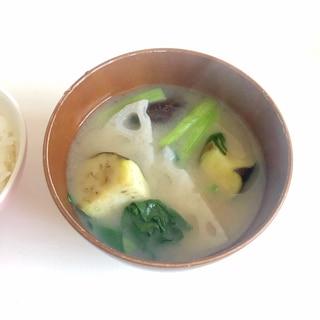 れんこんとナスと小松菜のお味噌♪