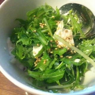 豆腐と水菜のしそドレッシング