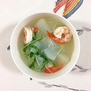 水菜も入れて、冬瓜と海老のスープ