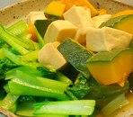 かぼちゃ、高野豆腐、小松菜の炊き合わせ
