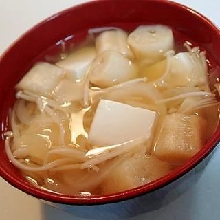 えのき茸と新玉葱と豆腐とお麩のお吸い物♬