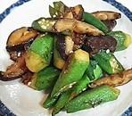 オクラと椎茸のめんつゆ柚子胡椒炒め