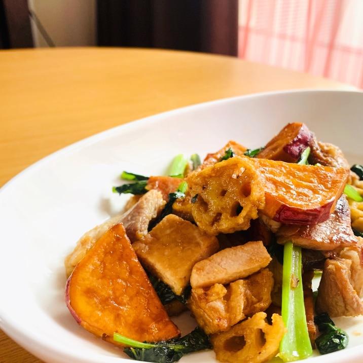 揚げ野菜の彩り炒め