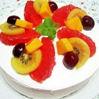 夏のフルーツデコレーションケーキ