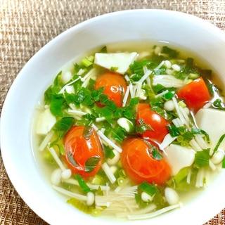 さっぱり♪トマトとお豆腐のモロヘイヤスープ