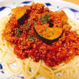 ズッキーニ入り♡トマト缶で作るミートスパゲティ