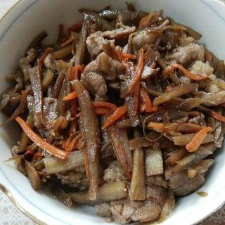牛肉とごぼうと人参の甘辛炒め♥