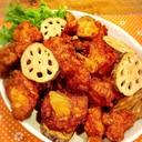 鶏むね肉とレンコンのスタミナ唐揚げ☆