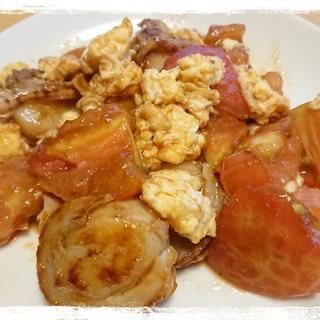 トマトとベビーホタテと卵のオイスターソース炒め