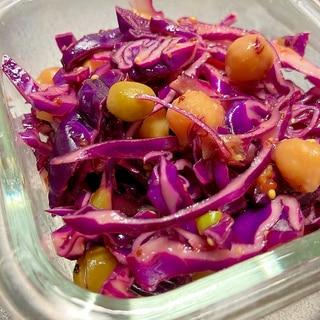 カラフル★紫キャベツの豆サラダ