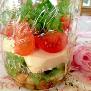 豆腐とオクラとお豆のメイソンジャーサラダ♡